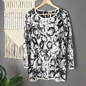 Black and White Insight Long Floral Sweater